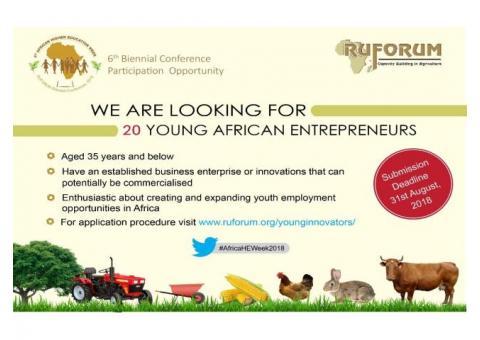 RUFORUM Concours des jeunes entrepreneurs africains (entièrement financé à Nairobi, Kenya) 2018